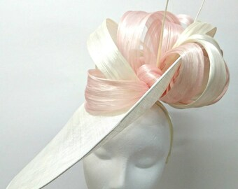 Large ivory and pale pink disc headpiece