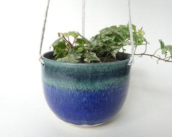 Hanging Planter - Hanging vase for small/medium plants - White, Blue & Green Handmade Ceramic hanging planter - Pottery