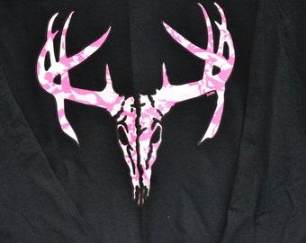 Pink Camo Deer Skull Hunting Short Sleeve or Long Sleeve Shirt