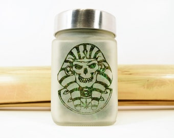 Skull Stash Jar - Pharaoh Weed Accessories, Stoner Gifts and Stash Jars - Weed Gifts and Stoner Accessories - 420 Cannabis Gifts