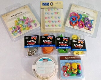Brads Destash ~ More Than 220 Pieces.  Includes: Karen Foster, Recollections, Bazzill, Stampin' Up!   BRAND NEW