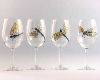 Hand Painted Dragonfly Wine Glasses - Painted Dragonfly Wine Glasses - Set of Four Different Dragonflies