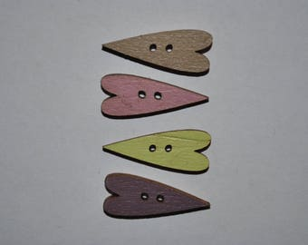 set of 4 buttons wood heart child/baby/sewing/scrapbooking/deco 66