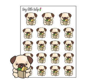 Planner Stickers Pug Grocery Bag