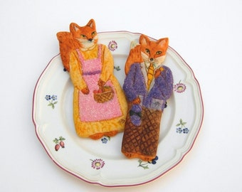 Foxes Cookies Cookie Gift Mothers Day Gift Anniversary Gift Wedding Favor Engagement Favor Edible Gift Birthday Gift Baked Goods
