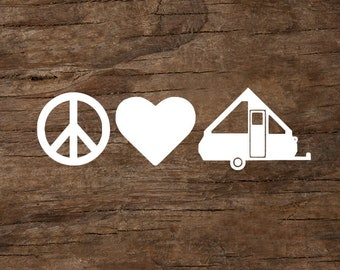 Peace, Love & Camping A-Frame Trailer Window Decal