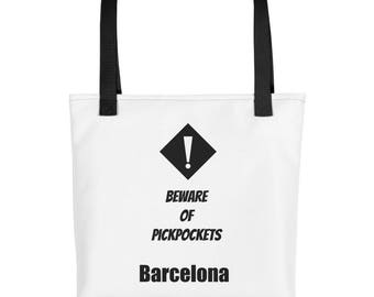Tote bag, Beware of Pickpockets, Barcelona, Beach Tote, Travel Tote, Destination Wedding Gift