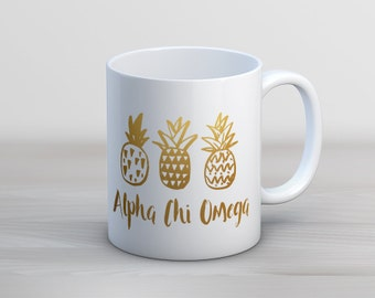 AXO Alpha Chi Omega Faux Gold Foil Pineapple Mug Sorority Coffee Mug
