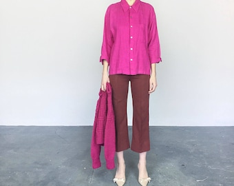 Berry Linen Top / Jacket (L)