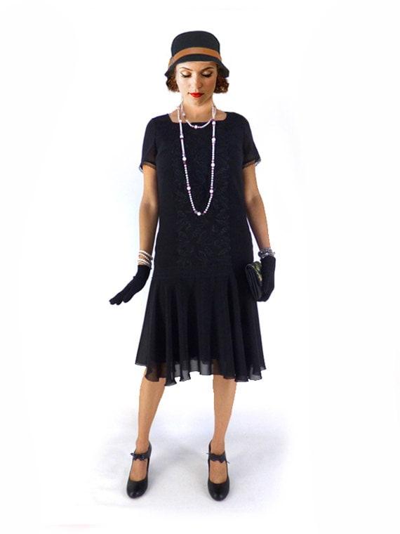 1920s Day Dresses, Tea Dresses, Mature Dresses with Sleeves Retro Flapper Dress Roaring 20s Dress $111.00 AT vintagedancer.com