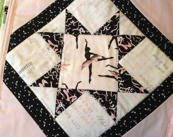 Ballet Doll Quilt in pink, white and black, diamond pattern
