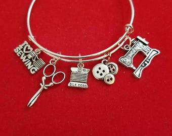 Silver Seamstress Themed Charm Bracelet