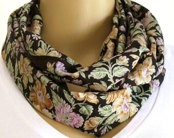 Black Floral Infinity Scarf, Silk Scarf