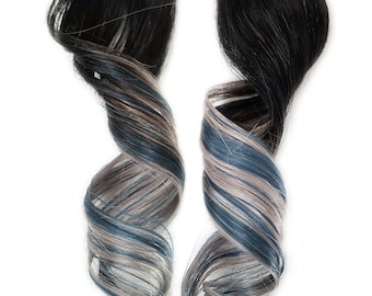 """Ombre #1b """"Sea Breeze"""" Turquoise Aqua Blue Pastel Silver Rainbow Clip in Human Hair Extensions READY TO SHIP"""