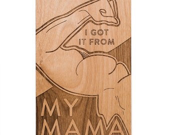Muscle Mama Card - Happy Mother's Day, Laser Cut Wood Card