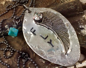 FLY Angel Wing Necklace Hand Stamped Large Rhinestone and Turquoise Bead Charm, Soldered Jewelry One of a Kind Necklace Kyleemae Designs