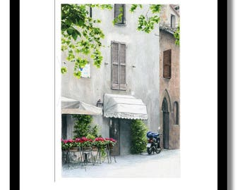 Dolce Orvieto Giclee fine art print of original color pencil drawing.