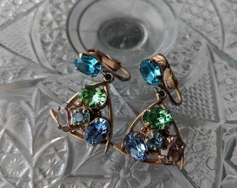 Dangle Green Blue & Purple Rhinestone Earrings