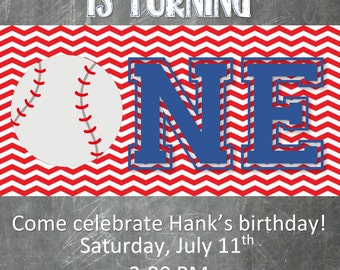 Little Slugger FIrst Birthday Baseball Invitation DOUBLE SIDED  With Front and Back of Card Design with Chevron Red and Blue