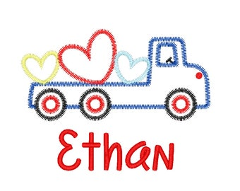 Valentine's Day Truck Applique, Truck with Hearts Applique, Flatbed Truck with Hearts Applique, Truck with Hearts Tee, Boys Valentines Tee