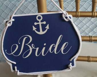 Nautical Bride and Groom Chair Signs, Boat Bride and Groom Signs