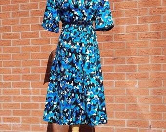 Blue, green, white, black fleck pattern vintage summer dress   Vintage patterned shirt dress   Plus size vintage dress   Size XL large