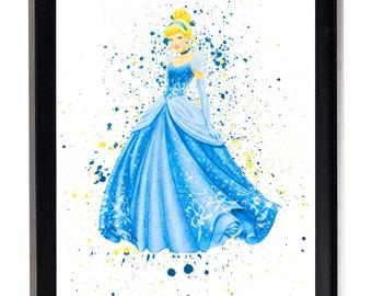 Watercolor Cinderella Art Print Matte Print Poster