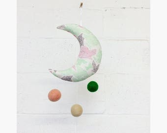Baby mobile, Crescent Moon hanging. Birthday gift.