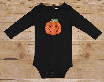 Black Halloween Pumpkin Onesie