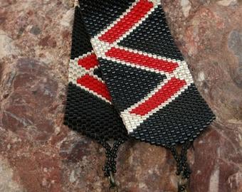 Bracelet en perles - Perles déclaration Bracelet - Peyote à la main Bracelet en perles - Perles de rocaille argent - rouge - noir