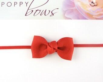 Smallest Bow Headband - Newborn Headband Red Tiny Bow on Skinny Elastic - All Sizes Newborn Toddler Girl