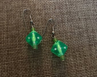 Green dice earrings