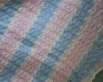Crochet Baby Blanket Pink White Blue