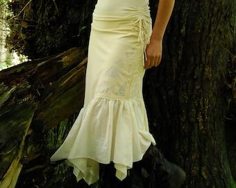 Cream Festival skirt, White goddess clothing, Bridal fairy skirts,  Tribal clothes for women, Hippie fashion, Boho wear for her Midi length
