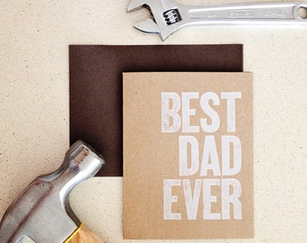 BEST DAD EVER letterpress note card