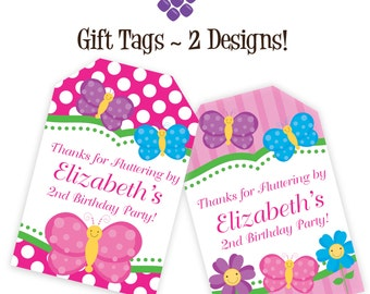 Butterfly Gift Tags - Pink Stripes, Polka Dots, Purple and Blue Butterflies Personalized Birthday Party Gift Tags - A Digital Printable File