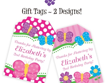 Spa party gift tags hot pink lime zebra print black white butterfly gift tags pink stripes polka dots purple and blue butterflies personalized birthday negle Images