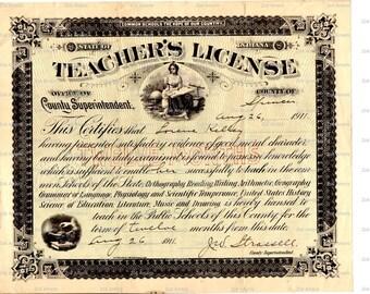 Vintage Digital Victorian Ephemera Teacher's Licensce Instant Download