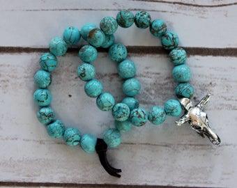 Turquoise Stacking Bracelets with Steer Skull Pendant, Southwestern Style Bracelets, Western Stacking Bracelets, Turquoise Beaded Bracelets