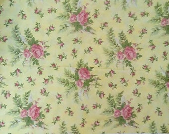 Butterfly Kisses Rose (yellow background) Fabric Quilting Crafting Home Decor