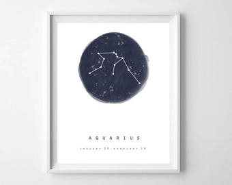 Aquarius Print, Zodiac Sign, Star Map, Printable Art, Constellation Print, Astrology Print, Constellation Wall Art, Zodiac Wall Art