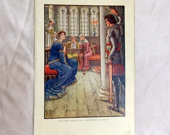 Walter Crane  Art 1911 Knights of Round Table Sir Owen Greets Lady of the Fountain Color Print
