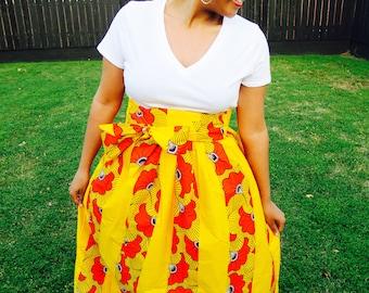Long Pleated Ankara Skirt