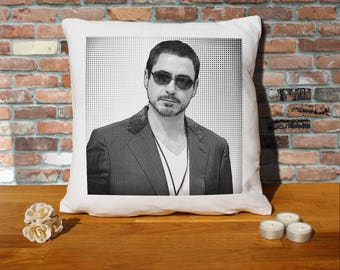 Robert Downey Jr Pillow Cushion - 16x16in - White