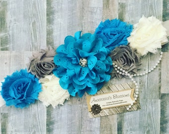 Blue Maternity Sash, Blue and White maternity sashs, Blue and Gray Maternity sash, Its a boy maternity sash for baby shower, Mom to be Sash