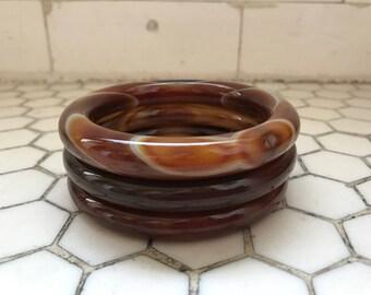 Brown Tigers Eye Jadeite Agate Bangles, Set of 3