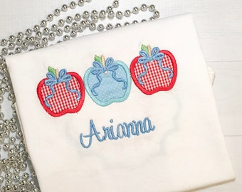 A Apple Bow Trio Applique Shirt or Onesie  Name Embroidered (FREE)