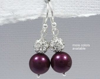 Plum Earrings, Purple Earrings, Swarovski Blackberry Pearl Earrings, Bridesmaid Jewelry, Bridesmaid Gift Earrings, Plum Wedding Earrings