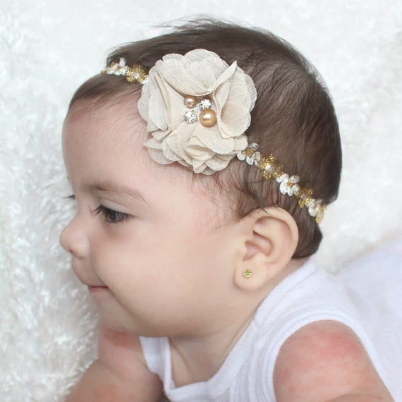 gold headband baby, gold headband baby, Gold Headband, Infant Headband, Flower Headband Baby, newborn headbands baby girl, White Headband
