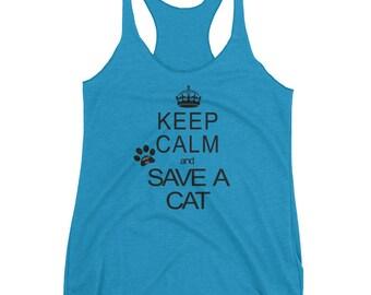 Keep Calm & Save a Cat Women's Racerback Tank